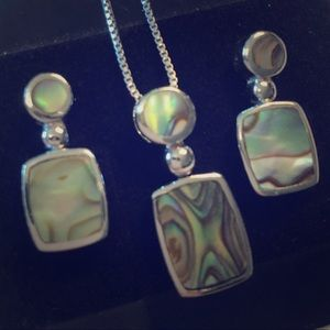 Jewelry - Sterling mother of pearl necklace & earring set.